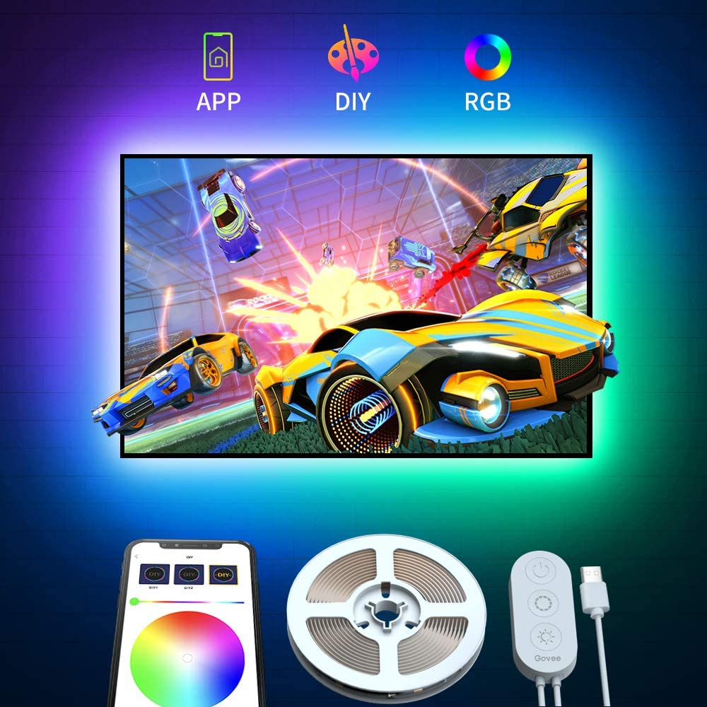 Govee Tira LED TV 2M RGB con APP, Tiras LED USB Multicolor 5050 SMD para 40-55in HDTV/PC Monitor, Retroiluminacion LED de TV con 16 Millones Colores DIY y Modo Escenas 4pcs x50cm, 5V 2A