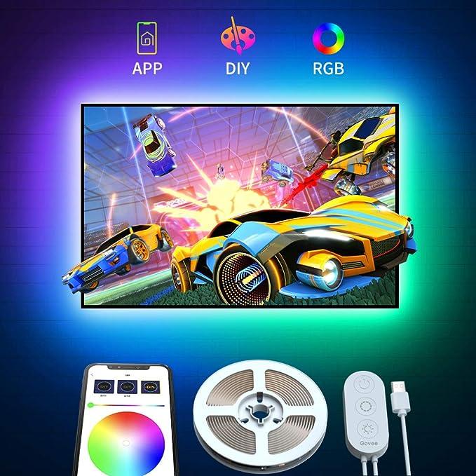 Govee Retroilluminazione TV LED 2M RGB USB con APP, 5050 Striscia LED Retroilluminazione TV Multicolor, Multi DIY Luce LED a...