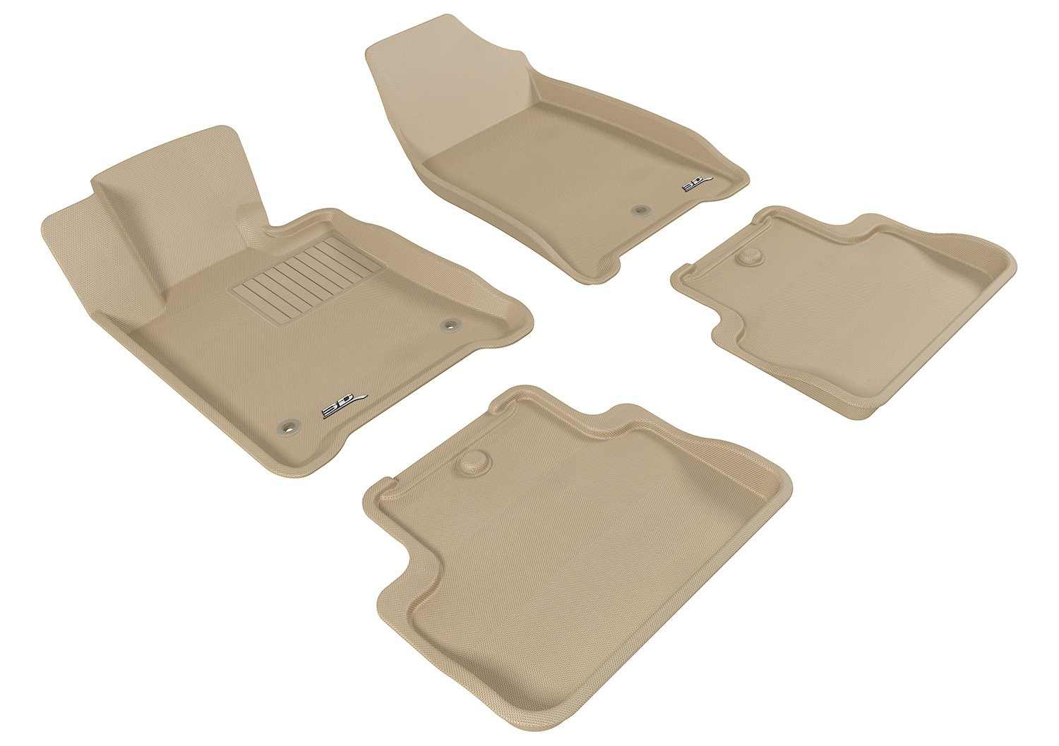 Kagu Rubber Tan 3D MAXpider Complete Set Custom Fit All-Weather Floor Mat for Select Chevrolet Malibu Models