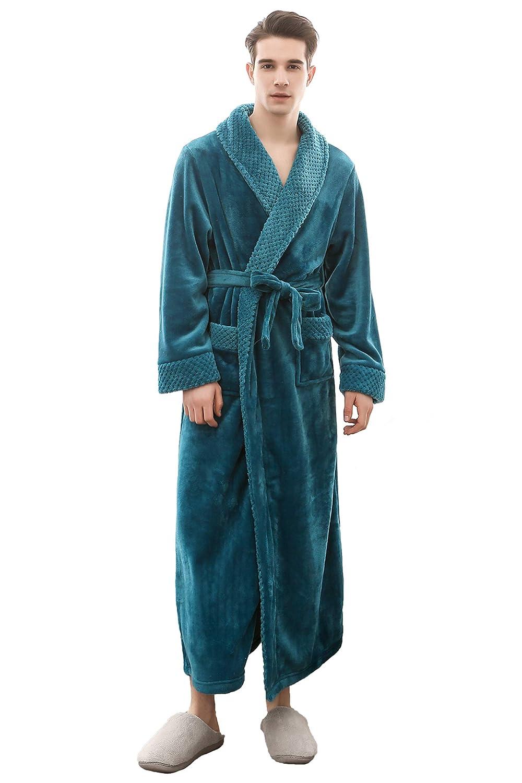 Cahayi Warm Thick Long Women Bathrobe Winter Plush Flannel Men Robe Housewear CABR1804