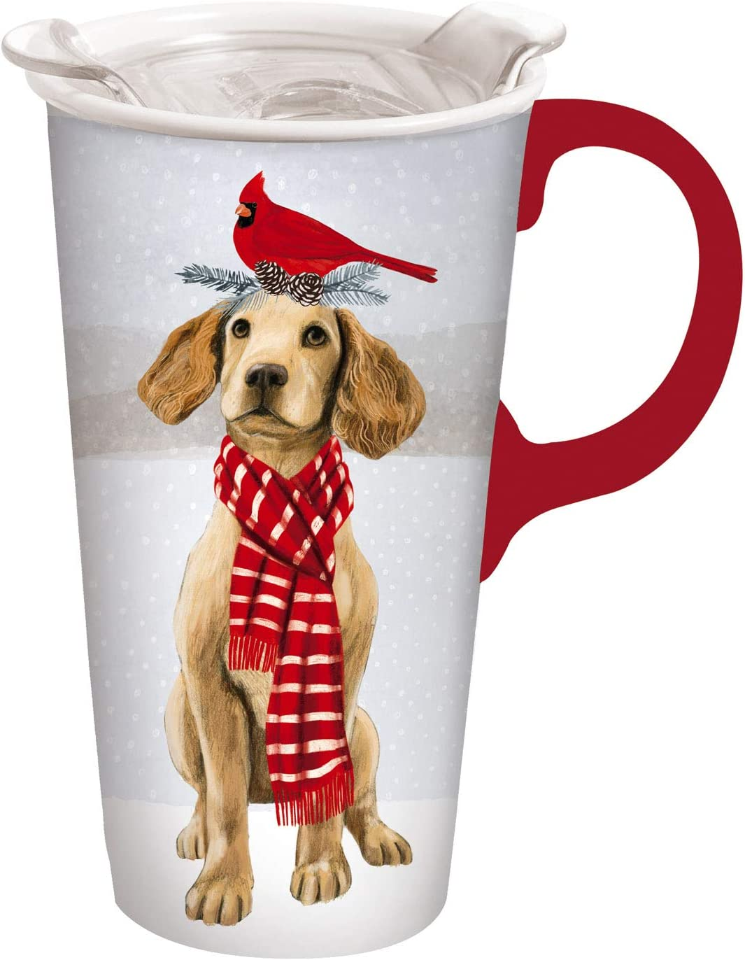 Cypress Home Beautiful Christmas Dog Ceramic Travel Cup with Tritan Lid and Matching Box - 4 x 5 x 7 Inches Indoor/Outdoor home goods For Kitchens, Parties and Homes