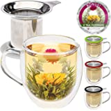 Teabloom Double Wall Glass Mug with Infuser & Lid White