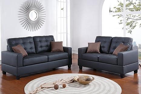 Groovy Poundex F7855 Bobkona Aria Faux Leather 2 Piece Sofa And Loveseat Set Black Creativecarmelina Interior Chair Design Creativecarmelinacom