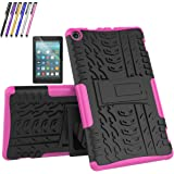 Fire HD 8 2017 Case, Mignova Hybrid Protection Cover [Anti Slip] [Built-In Kickstand] Skin Case For All-New Fire HD 8 Tablet 7th Generation 2017 Release + Screen Protector and Stylus Pen (Pink)