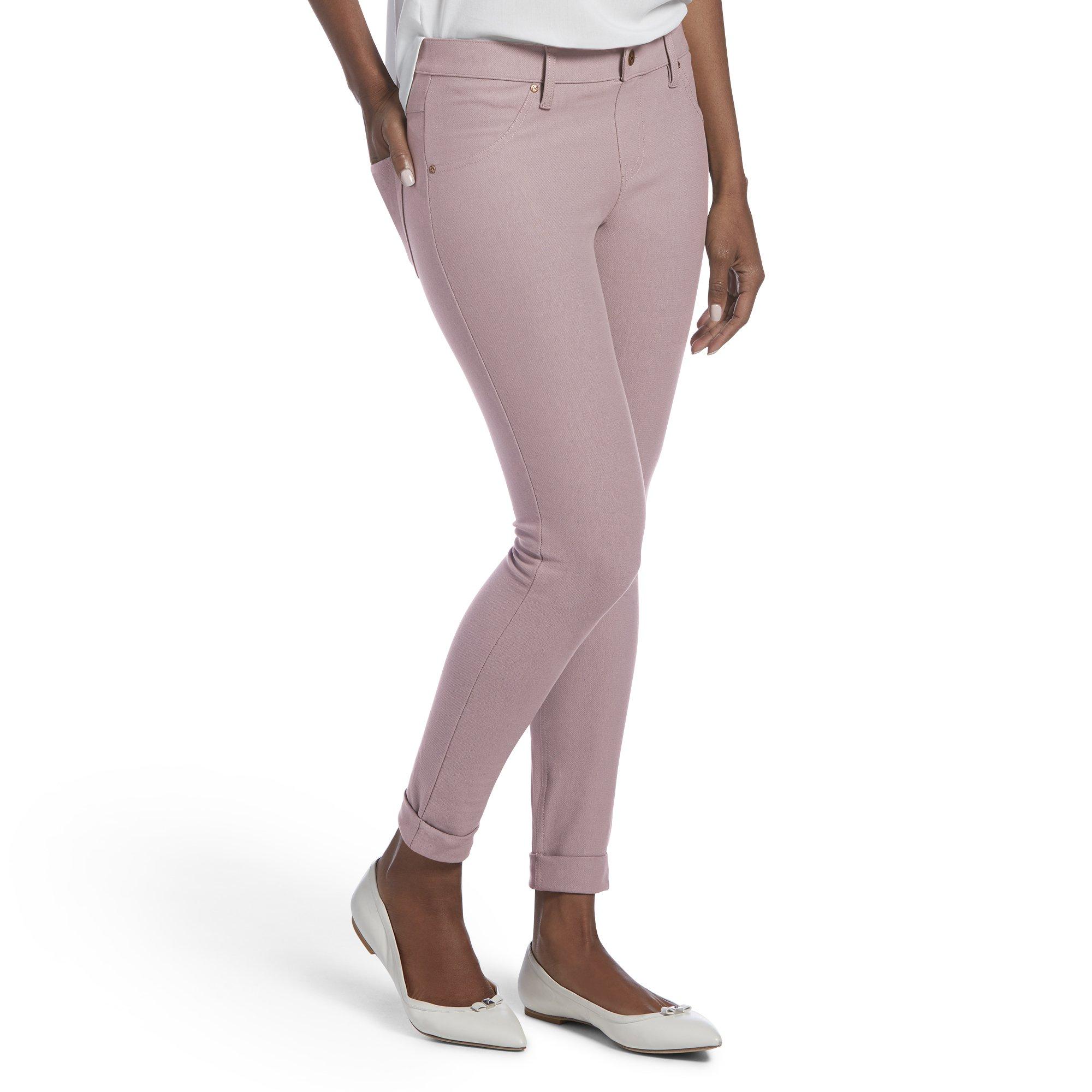 HUE Women's Essential Denim Skimmer Leggings, Cuffed Hem-Vintage Pink, M