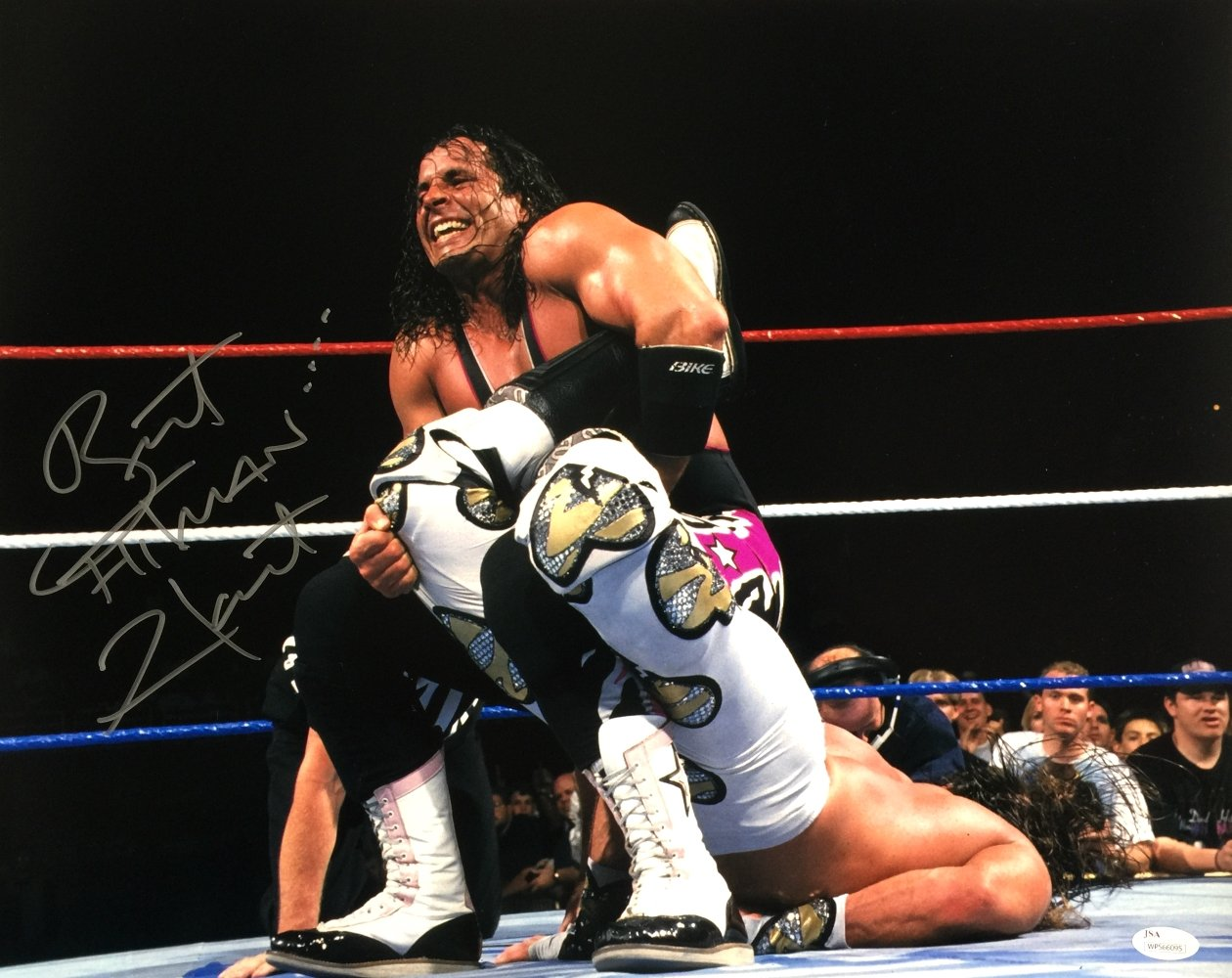 Bret Hart Signed WWE 16x20 WrestleMania XII Sharpshooter VS HBK Photo JSA