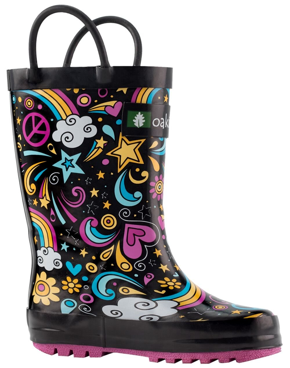 Oakiwear Kids Rubber Rain Boots with Easy-on Handles, Peace, Love & Rainbows, 6T US Toddler, Peace