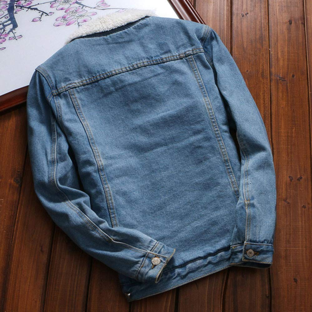 Hemlock Women Plus Size Denim Jacket Faux Fur Denim Cardigan Coat Long Loose Jeans Outerwear Pullover Tops