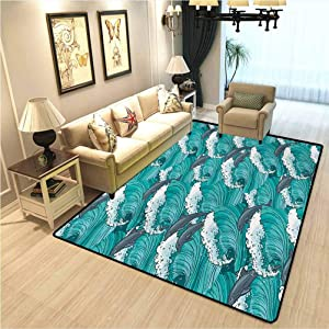 Sea Animals Kids Living Room Carpet Wavy Ocean with Dolphins Windy Surfing Doodle Style Art Print Soft Comfy Area Rugs for Bedroom Charcoal Grey Teal White W4xL6 Ft