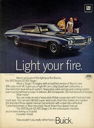Amazon Com Light Your Fire Buick Gs 455 Stage I Ad 1970 Rt