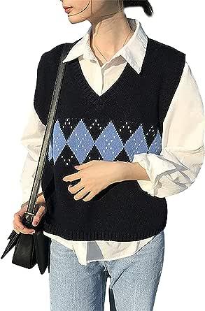 Jersey de mujer niña sin mangas cuello en V chaleco cárdigan camiseta clásica de punto casual chic vintage