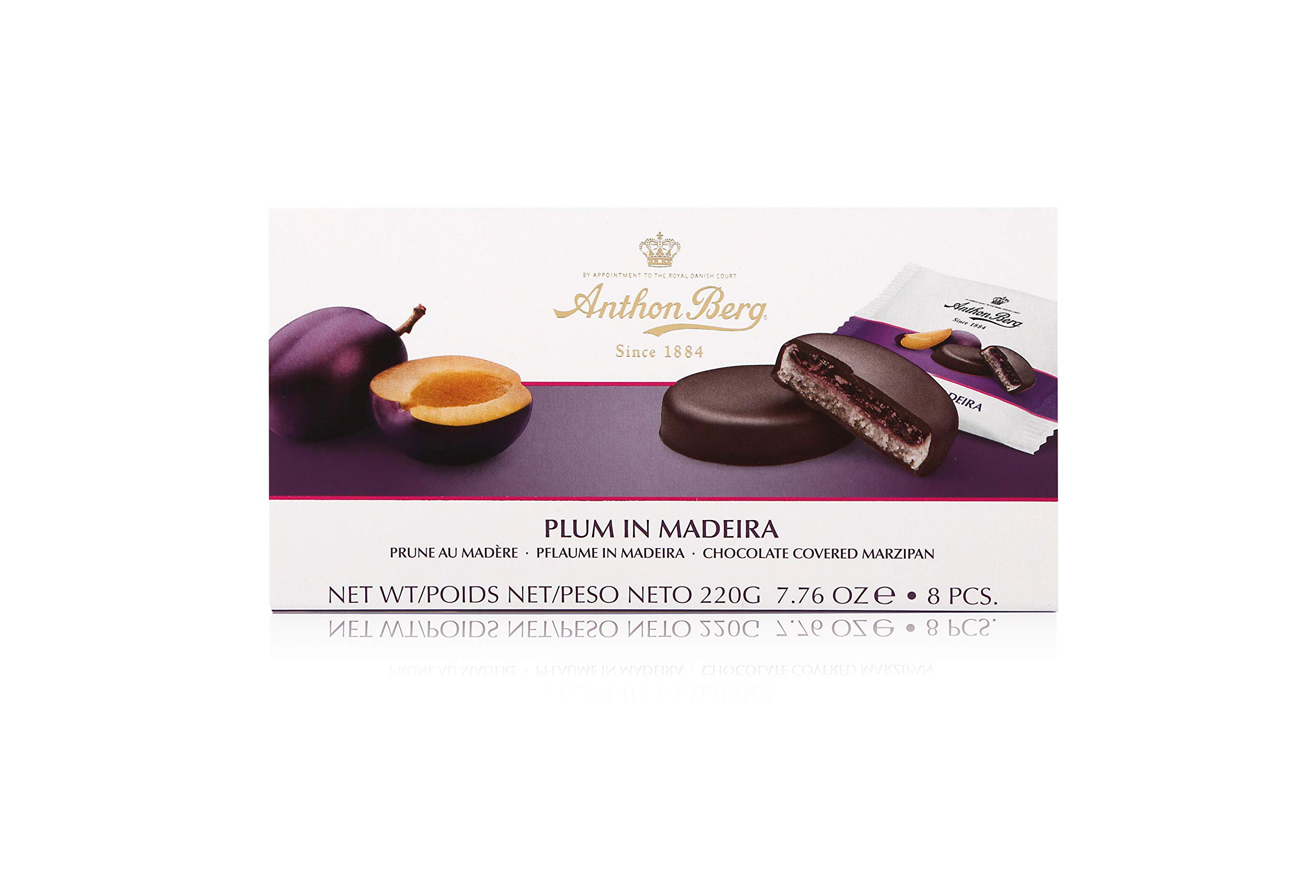 Anthon Berg - Marzipan Covered in Dark Chocolate - Plum & Madeira - Box of 220g - With a delicious jam of fresh fruits flavoured with Madeira.