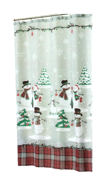 Christmas Shower Curtain.Winter Wonder Lane Christmas Shower Curtain Snowman Plaid Matching 12 Snowflake Hooks Set