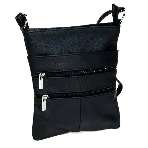 546947b639 Black Genuine Leather Crossover Body Handbag  Handbags  Amazon.com