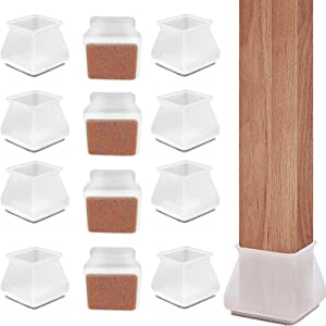 Silicone Chair Leg Floor Protectors 16 PCS with Anti-Slip Felt Pads Table Feet - Square Furniture Silicone Protection Cover - Furniture Leg Caps, Prevents Scratches and Noise Without Leaving Marks