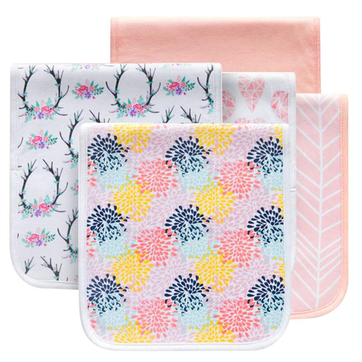 Color : 01# 5pcs//lot 5pcs//lot Reusable Washable Cotton Baby Bibs 3-Layer Absorbent Burp Cloth Infant Meal Feeding Milk Saliva Towel