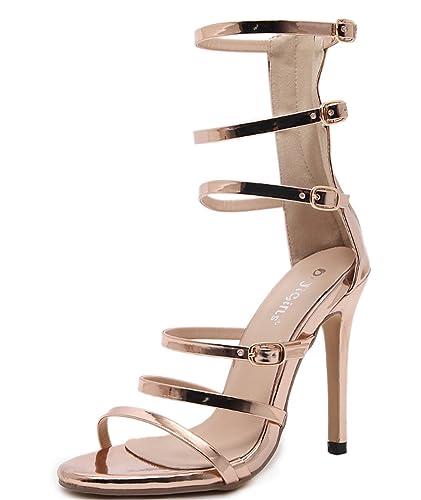 02c9ad28530b65 WLITTLE Damen High Heel Sandalen Sandaletten High Heels Sandalen Stiletto  Schuhe Frühling Sommer Damenschuhe Riemchen Sandalen