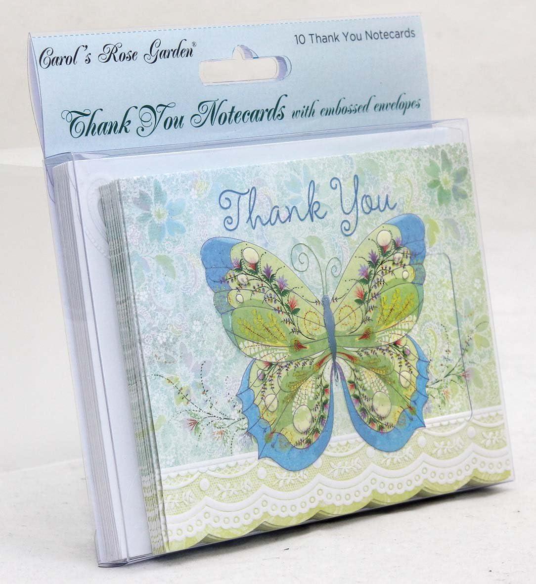 Carol Wilson Fine Arts Sake BTY0143 Boxed Carol's Rose Garden Blue/Green Butterfly