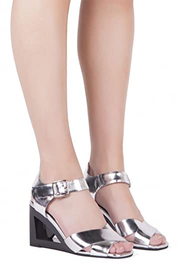 3a4fba0bf94 Jeffrey Campbell ALLUDE Silver Cut-Out Open Toe Wedge Mid Height Ankle  Strap (6