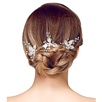 Amazon Aenmil Leaf Shaped Crystal Pearl Hairpin U Shaped