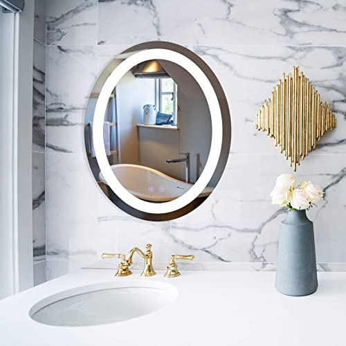 CO-Z Anti Fog Wall Mounted LED Lighted Bathroom Mirror with Defogger and Dimmer, Modern Fog Free Plug in LED Light Up Oval Backlit LED Illuminated Bathroom Vanity Mirror with LED Lights 22 x28