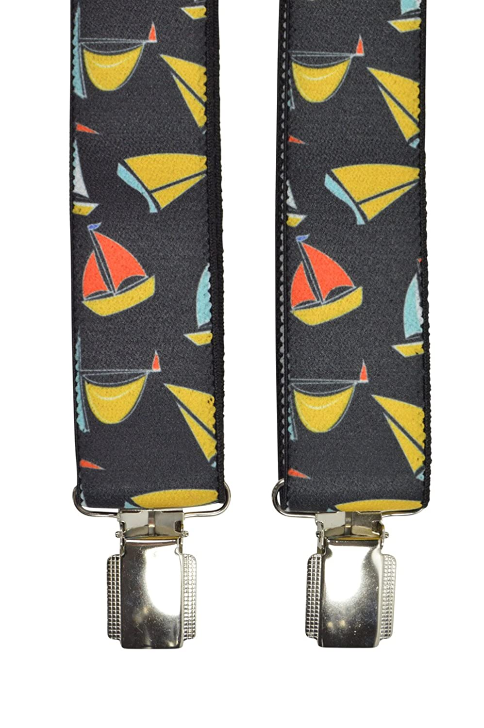 Children//Juniors 1-12 Years Clip on Braces//Suspenders with Sailing Boat Design