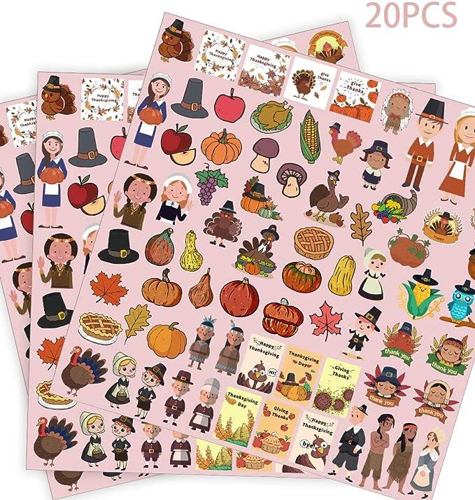 Konsait 165PCS Fall Autumn Leaves Window Clings Stickers,Thanksgiving Decorations Turkey Pumpkin Acorns Window Decal for Harvest Maple Party Decor Supplies Autumn Decals