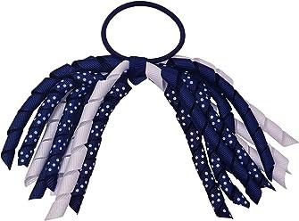 453b0bccf Girls Navy White Dotted Korker Ribbon Curly Hair Streamer Ponytail Holder