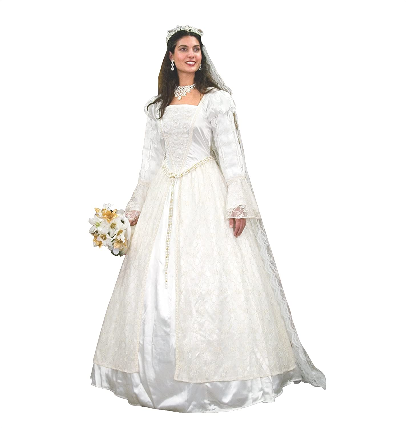 Renaissance Wedding Dress.Museum Replicas Renaissance Wedding Gown Veil W Flowers And Pearls