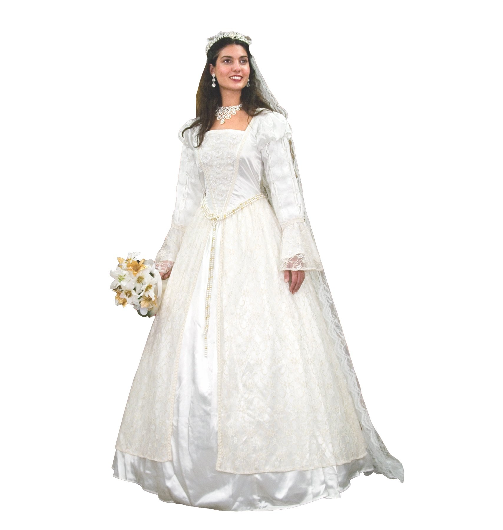 Renaissance Wedding Gown & Veil w/ Flowers and Pearls (Small)