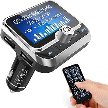 Transmisor FM Bluetooth [2019], Manos Libres para Coche, Inalámbrico Reproductor MP3 Mechero Coche Adaptador Receptor con Dual USB, soporta Llamadas y Mando a Distancia, Pantalla de 1,8- Plateado: Amazon.es: Electrónica