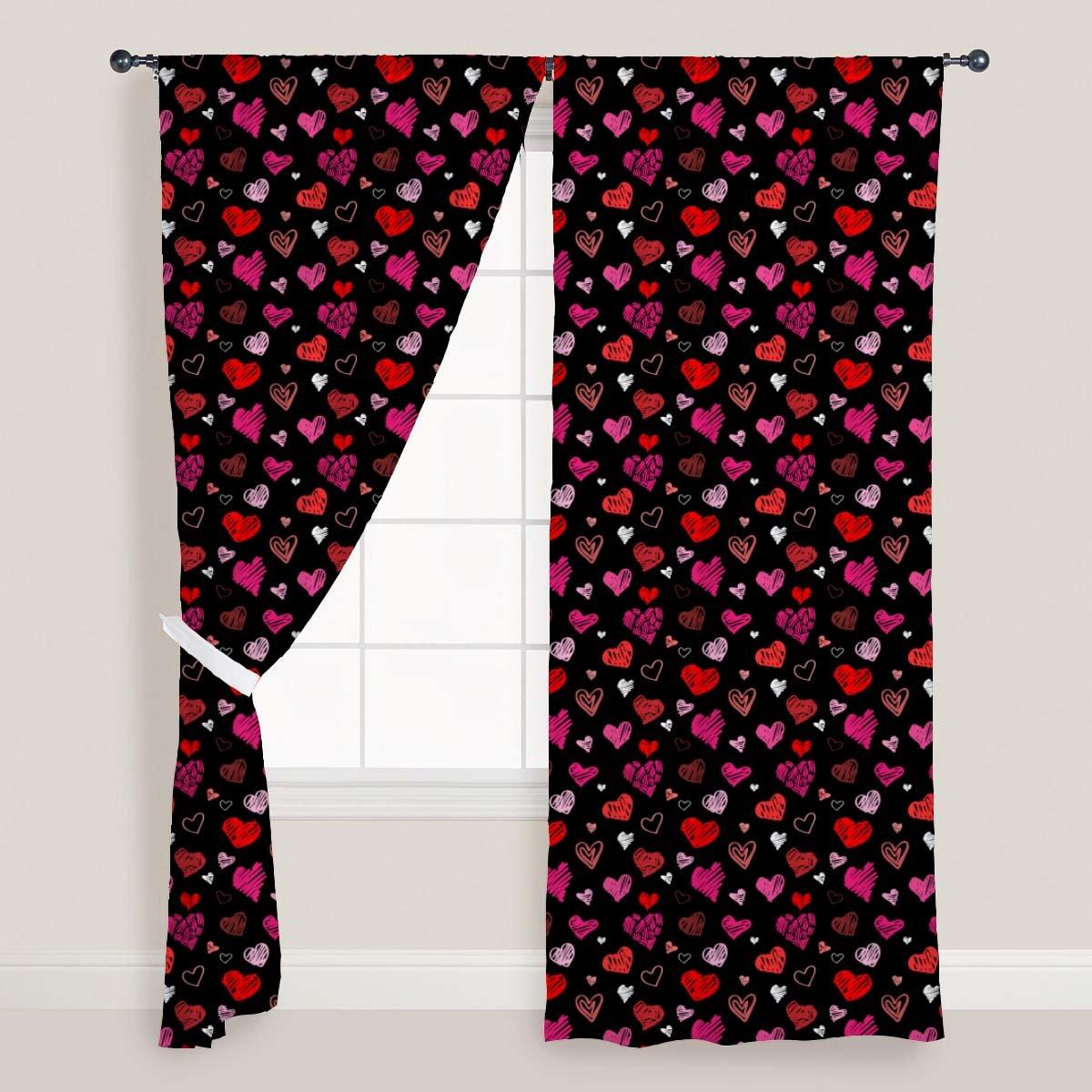 AZ Love Heart Door & Window Curtain Satin 4feet x 11feet; SET OF 3 PCS