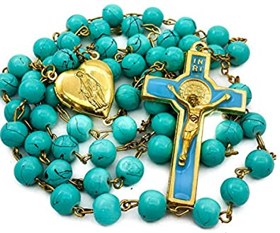 84200cc58b2 Nazareth Store Light Blue Rosary Glass Beads Catholic Necklace St Benedict  Chaplet Heart Locket Medal with