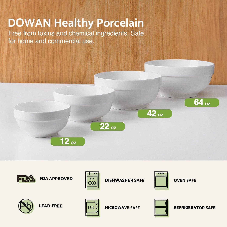 Diameter:4.5-6-7.25-8 DOWAN 4-Piece Porcelain Serving//Mixing Bowl Set Anti-Slipping Nesting Bowls