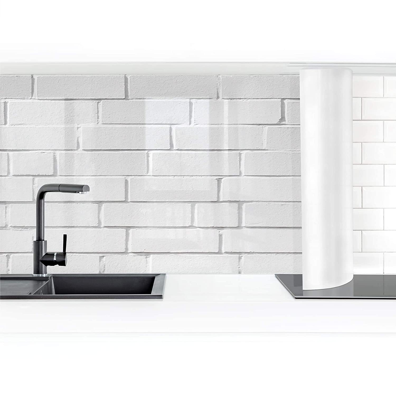 Bilderwelten Self-adhesive splashback water-resistant White Stone Wall 50 x 50 cm Premium