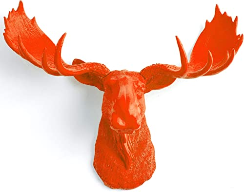 White Faux Taxidermy Modern Moose Home Decor 'The Asher' Hand-Painted Country Chic Moose Head Antler