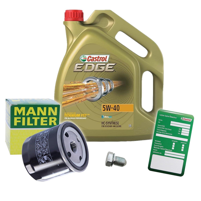 1 x Set de aceite - Muñeco de aceite + 5 l Castrol Edge FST 5 W de 40: Amazon.es: Coche y moto