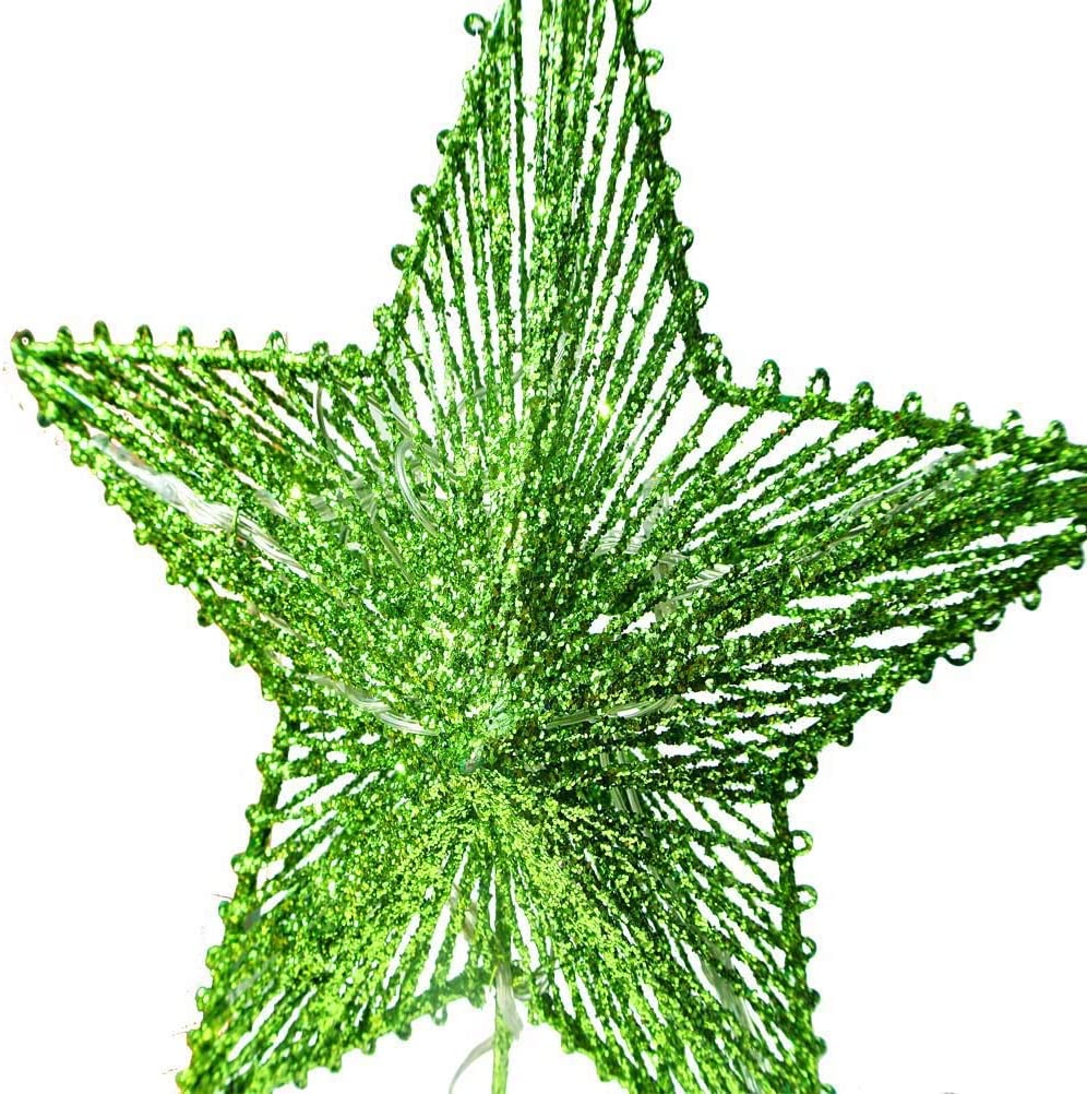 8.5 X 10.5 Inch CN CRAFTS 3D Christmas Tree Topper Star Green Timer Warm White LED 10-Lights Hollowed-Out Glittered Metal Treetop Star Three Functions