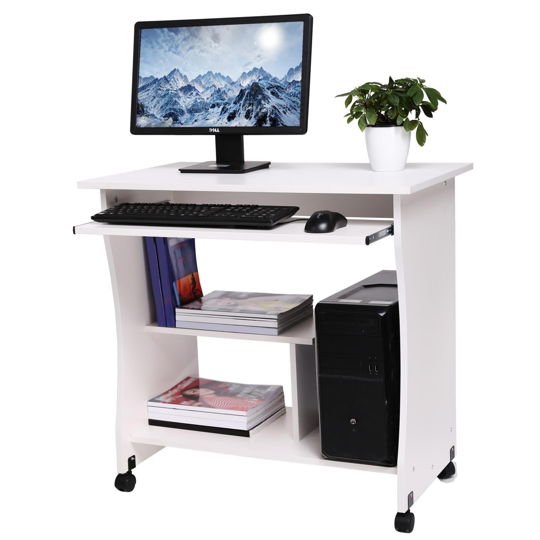Computertisch Mit Tastaturauszug, Schreibtisch Auf Rolle Bürotisch Aus  Holz, Arbeitstisch 3 Regale, 80
