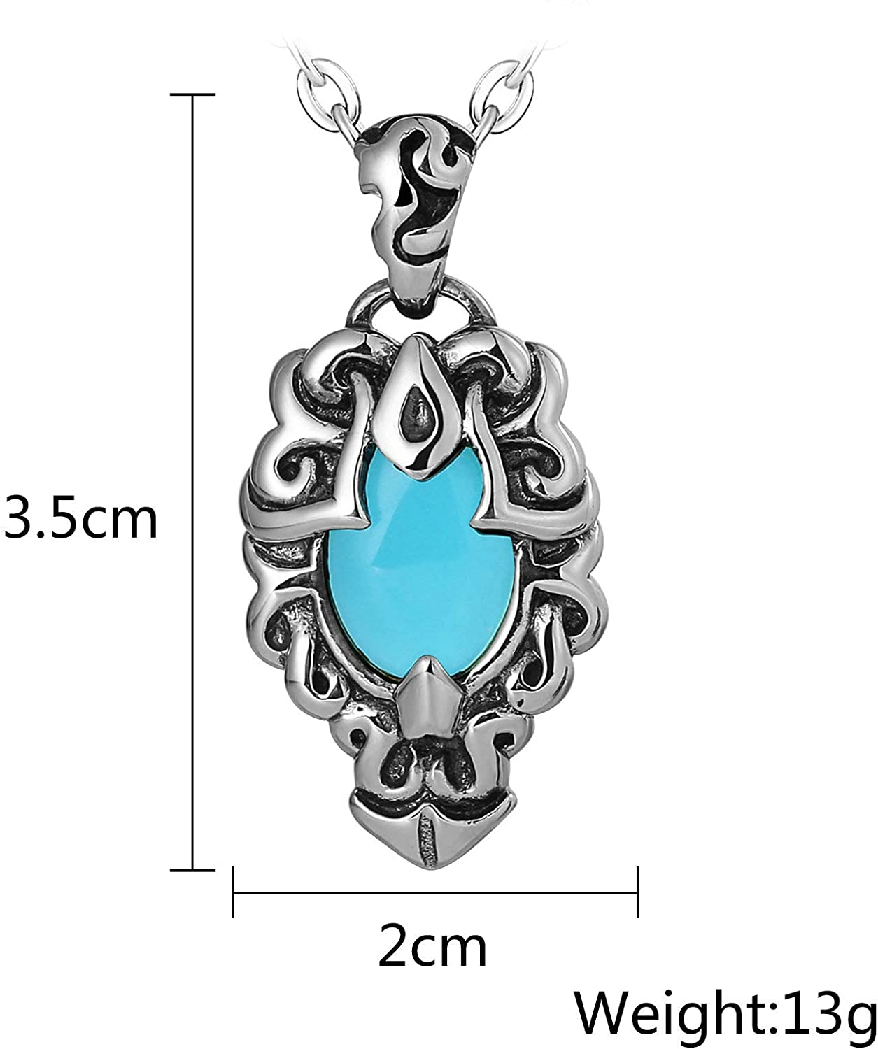 Aooaz Punk Necklace Pendant Necklace Totem Cubic Zirconia Chain Necklace for Men Stainless Steel