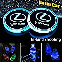 LED Car Logo Cup Holder Lights, 7 Colors Changing USB Charging Mat Luminescent Cup Pad, LED Interior Atmosphere Lamp…