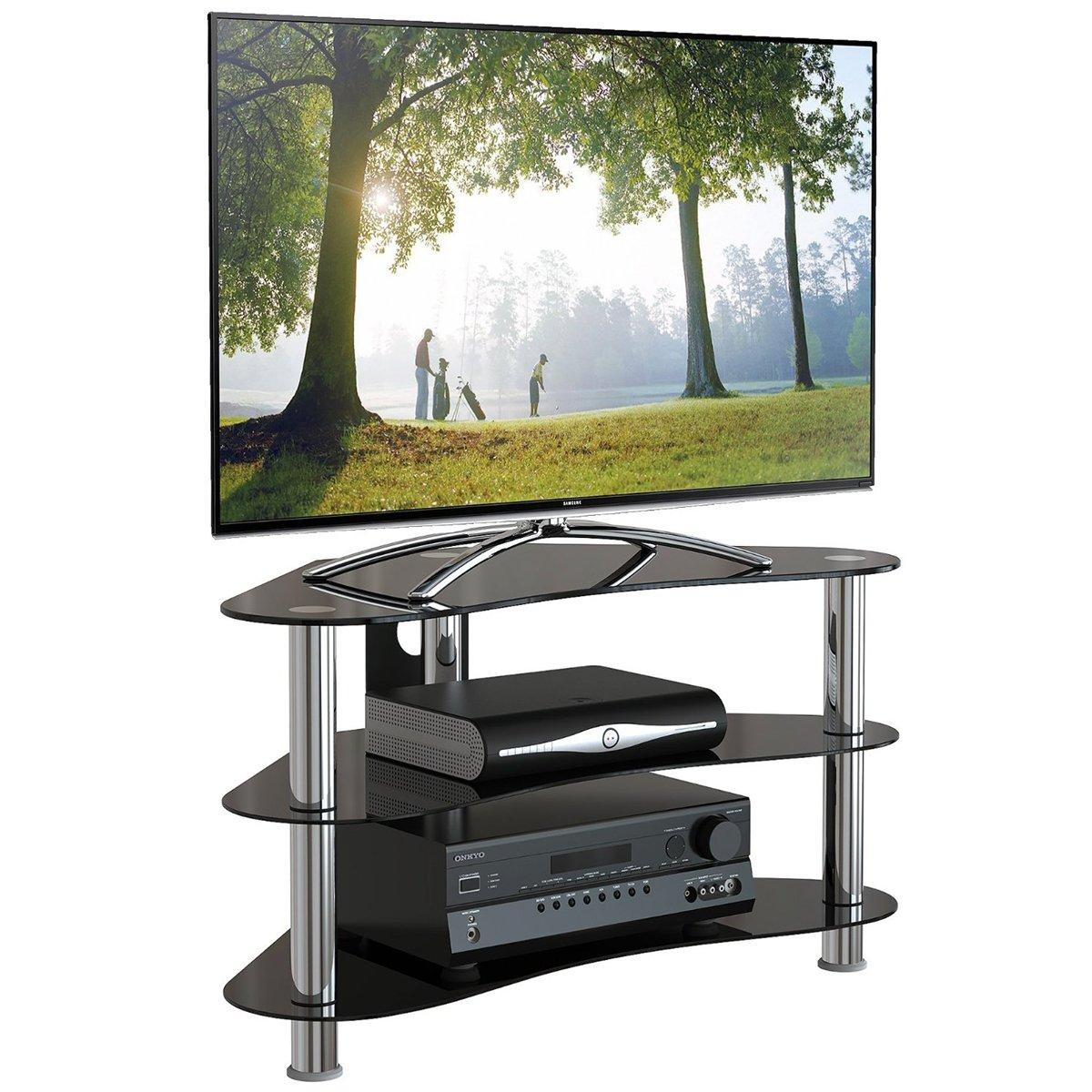 """1home Mobile Porta TV di Vetro Nero per LCD LED e Plasma TV da 32/"""" a 70/"""" GT5"""