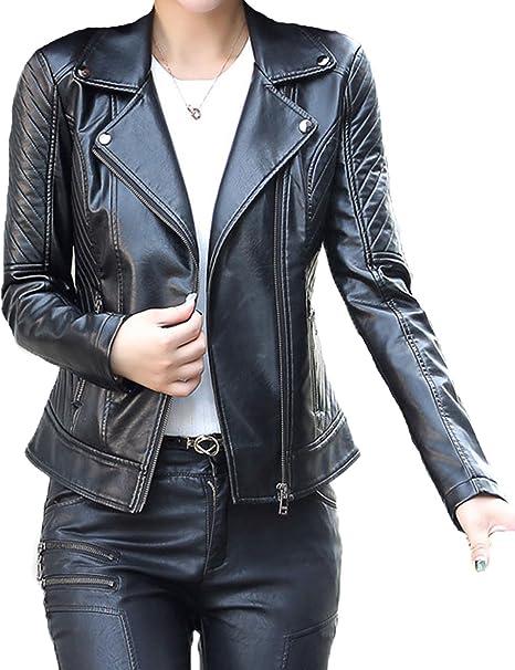 Amazon.com: zhusheng Mujer Slim Fit chamarra de piel de moto ...