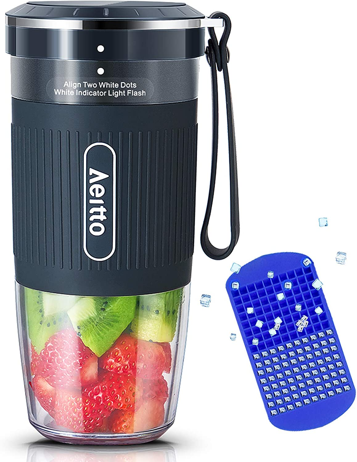 Portable Blender, Cordless Personal Blender Juicer, Mini Mixer, Smoothies Maker Fruit Blender Cup With USB Rechargeable, 10oz/300ml for Home, Office, Sports, Travel, Outdoors, by Aeitto, Dark Grey