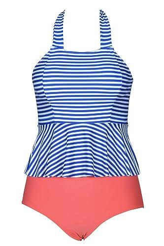 Cupshe Fashion Women's Stripe Printing High-waisted Halter Padding Bikini Set (L)