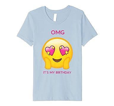 Kids Its My Birthday Emoji Girl Shirt Heart Smile Face 4 Baby Blue