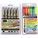Accu-Gel Bible Highlighters (Pack of 6) Plus Pigma Micron Bible Underlining Pens (6 Pack) Deluxe Study Kit