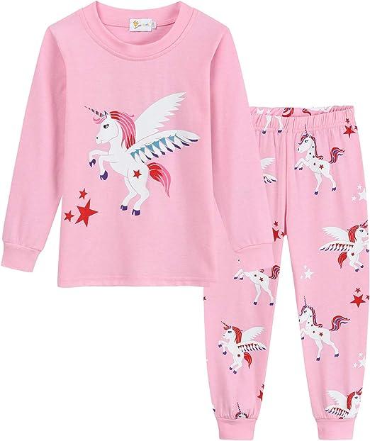 DHASIUE Pijama Niñas Unicornio Rosa Pjs Ropa Infantil 100% Algodón Ropa de Dormir 2 Piezas Traje de Manga Larga Ropa de Noche 1 – 7 Años: Amazon.es: Ropa y accesorios