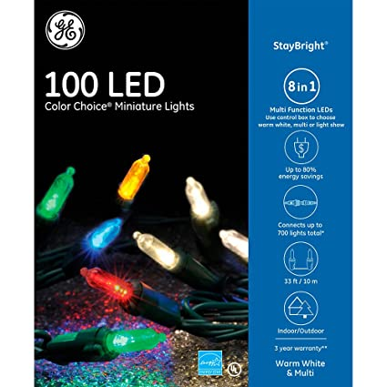ge staybright 100 count multi function color changing mini led copper wire string christmas - Multifunction Christmas Lights