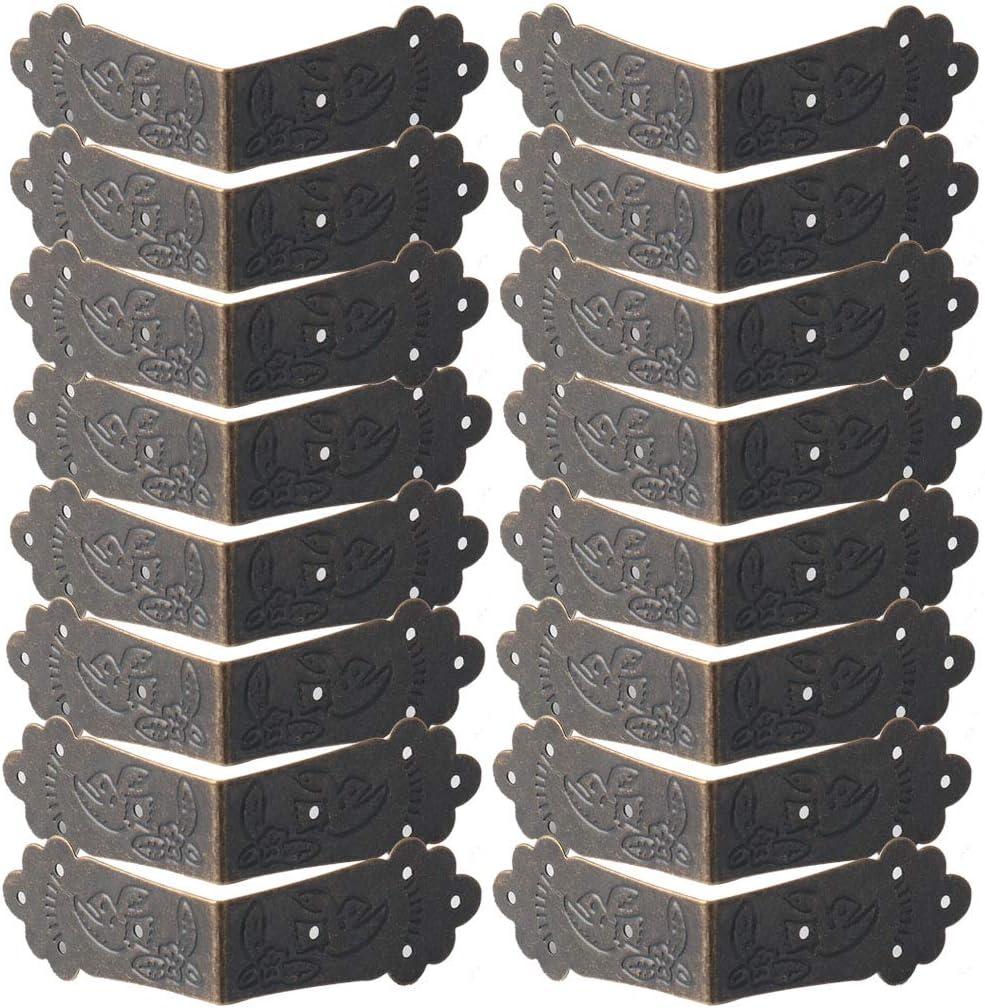 sourcing map Caja Esquina Protector Vintage Guardia Borde Cubierta Libro Mesa Escritorio Joyer/ía Caja Esquina Mueble Decoraci/ón 20 piezas